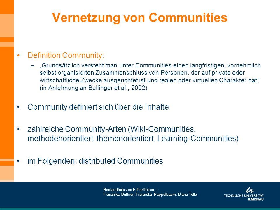 """Vernetzung von Communities Definition Community: –""""Grundsätzlich versteht man unter Communities einen langfristigen, vornehmlich selbst organisierten"""