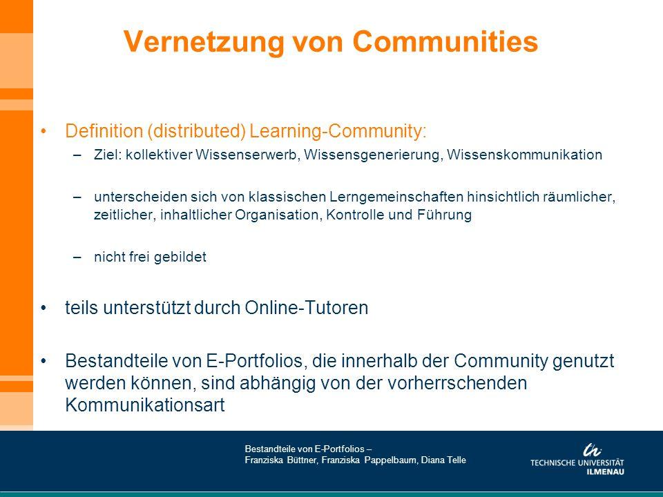 Vernetzung von Communities Definition (distributed) Learning-Community: –Ziel: kollektiver Wissenserwerb, Wissensgenerierung, Wissenskommunikation –un
