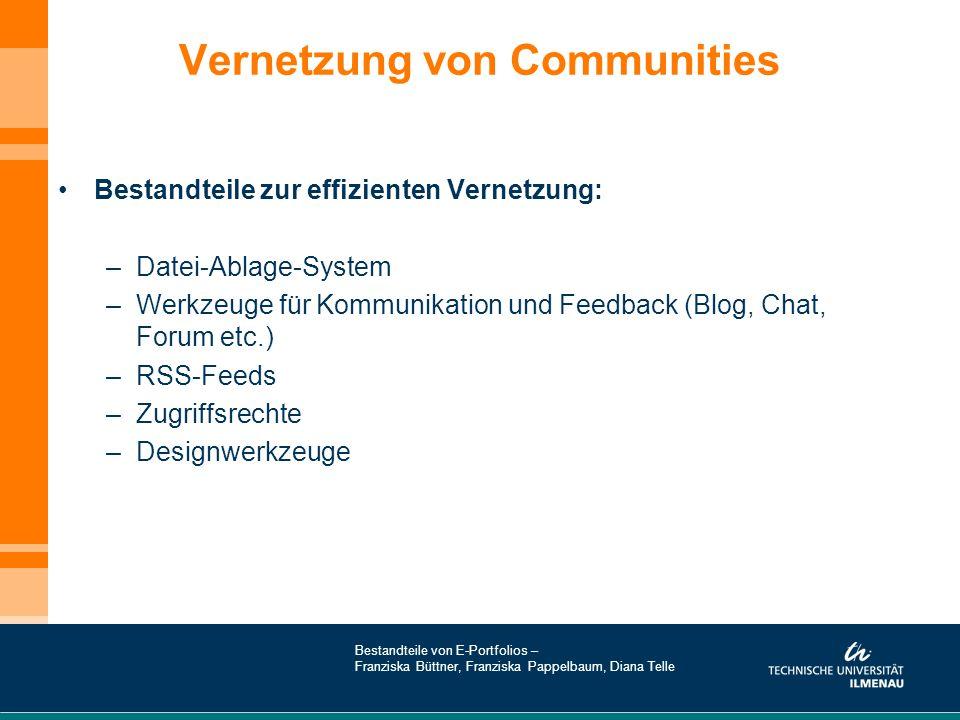 Vernetzung von Communities Bestandteile zur effizienten Vernetzung: –Datei-Ablage-System –Werkzeuge für Kommunikation und Feedback (Blog, Chat, Forum