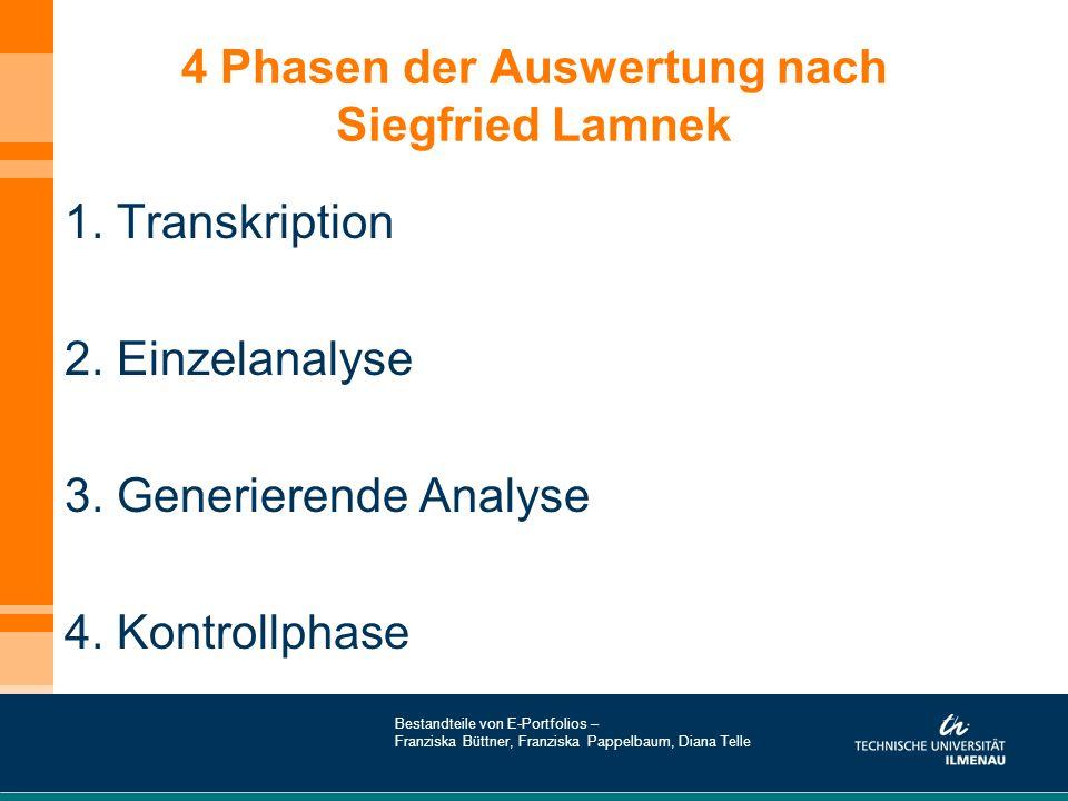 4 Phasen der Auswertung nach Siegfried Lamnek 1. Transkription 2. Einzelanalyse 3. Generierende Analyse 4. Kontrollphase Bestandteile von E-Portfolios
