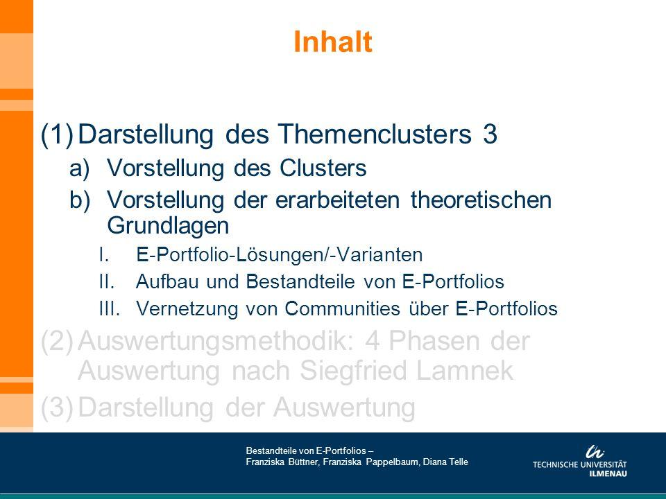 Inhalt (1)Darstellung des Themenclusters 3 a)Vorstellung des Clusters b)Vorstellung der erarbeiteten theoretischen Grundlagen I.E-Portfolio-Lösungen/-