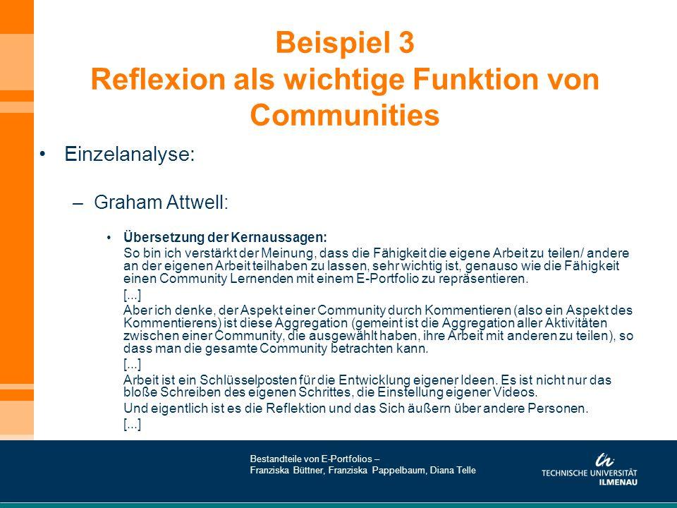 Beispiel 3 Reflexion als wichtige Funktion von Communities Einzelanalyse: –Graham Attwell: Übersetzung der Kernaussagen: So bin ich verstärkt der Mein
