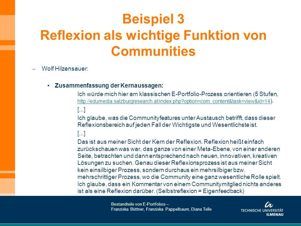 Beispiel 3 Reflexion als wichtige Funktion von Communities  Wolf Hilzensauer: Zusammenfassung der Kernaussagen: Ich würde mich hier am klassischen E-