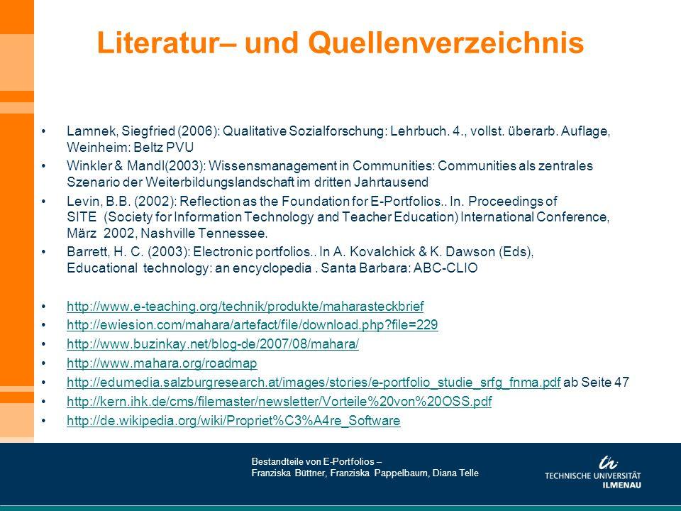 Literatur– und Quellenverzeichnis Lamnek, Siegfried (2006): Qualitative Sozialforschung: Lehrbuch. 4., vollst. überarb. Auflage, Weinheim: Beltz PVU W