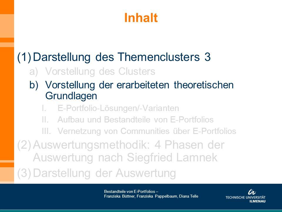 Literatur- und Quellenverzeichnis http://moodle.de/ http://de.wikipedia.org/wiki/Moodle http://www.e-learning-bw.de/internet-werkzeuge/kollaboration-im-lms/e-portfolio/so-gehts.html http://diuf.unifr.ch/people/brugger/papers/00_handbuch/plattformauswahl.html (ab Punkt 2.)http://diuf.unifr.ch/people/brugger/papers/00_handbuch/plattformauswahl.html http://de.wikipedia.org/wiki/Learning_Management_System#Formen)*&nbsp http://de.wikipedia.org/wiki/Online-Community http://de.wikipedia.org/wiki/Open_Directory_Project http://de.wikipedia.org/wiki/Wikipedia http://www.learning-communities.at/index.php http://www.e-teaching.org/technik/kommunikation/ http://community.avid.com/blogs/evangelist/archive/2008/04/11/avid-community-portfolios.aspx http://www.mightycommunity.com/portfolio.html http://www.shadowness.com/ https://portfolio.du.edu/pc/port?portfolio=resources https://portfolio.du.edu/pc/port.detail?id=33462Community http://www.pinuts.de/Loesungen/web2_0/multimediale_inhalte/http://www.pinuts.de/Loesungen/web2_0/multimediale_inhalte/ Bestandteile von E-Portfolios – Franziska Büttner, Franziska Pappelbaum, Diana Telle