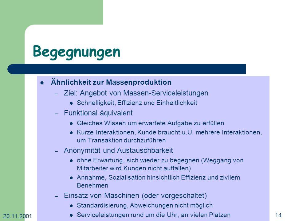 20.11.2001 Dr. Ingrid Wetzel14 Begegnungen Ähnlichkeit zur Massenproduktion – Ziel: Angebot von Massen-Serviceleistungen Schnelligkeit, Effizienz und