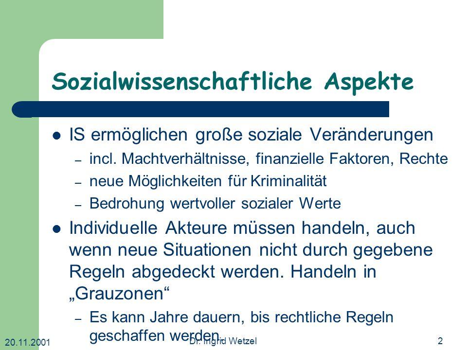 20.11.2001 Dr. Ingrid Wetzel2 Sozialwissenschaftliche Aspekte IS ermöglichen große soziale Veränderungen – incl. Machtverhältnisse, finanzielle Faktor