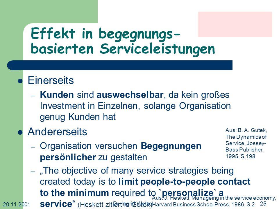 20.11.2001 Dr. Ingrid Wetzel25 Effekt in begegnungs- basierten Serviceleistungen Einerseits – Kunden sind auswechselbar, da kein großes Investment in