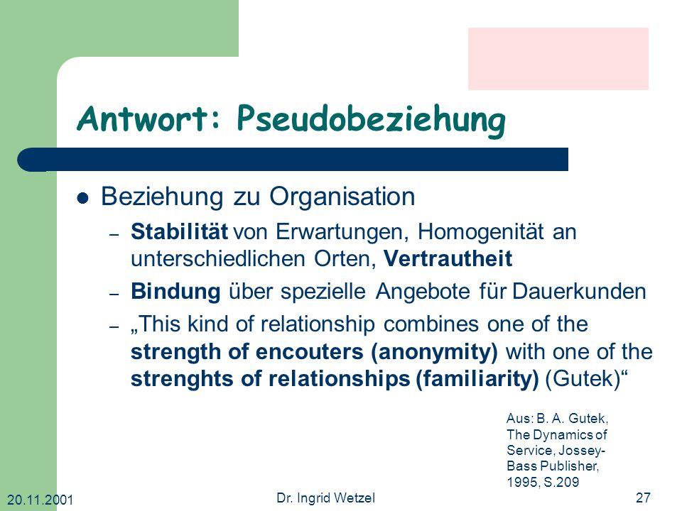 20.11.2001 Dr. Ingrid Wetzel27 Antwort: Pseudobeziehung Beziehung zu Organisation – Stabilität von Erwartungen, Homogenität an unterschiedlichen Orten