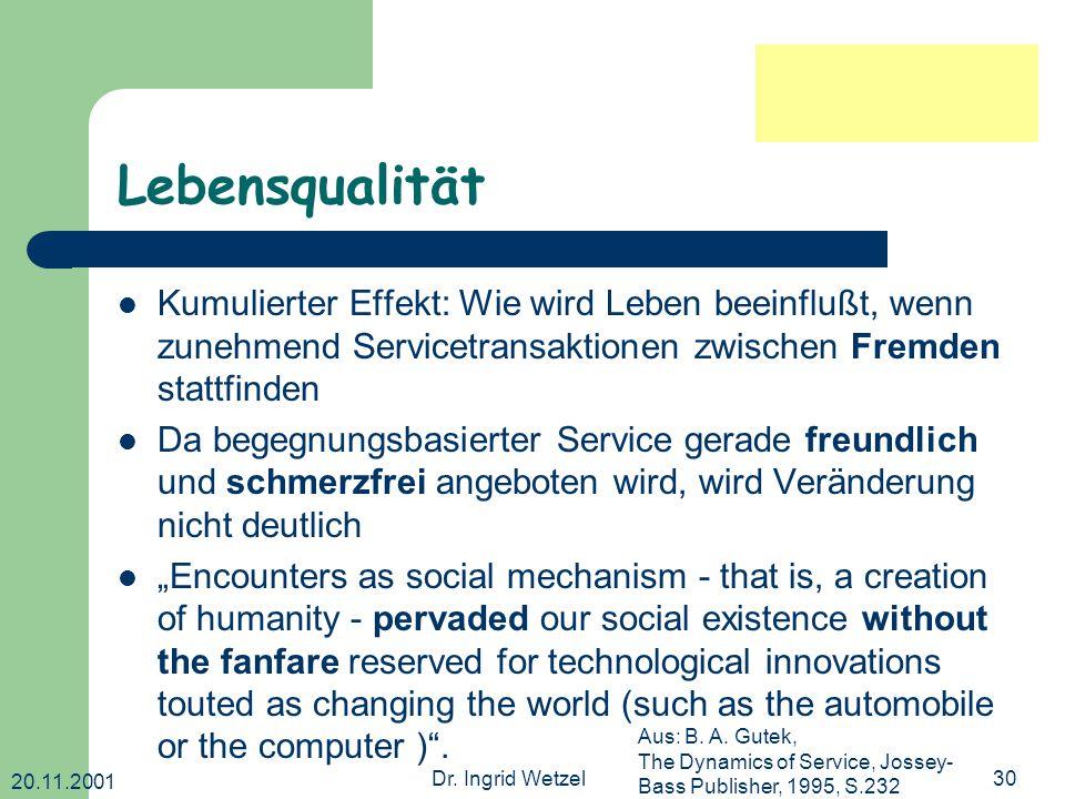 20.11.2001 Dr. Ingrid Wetzel30 Lebensqualität Kumulierter Effekt: Wie wird Leben beeinflußt, wenn zunehmend Servicetransaktionen zwischen Fremden stat