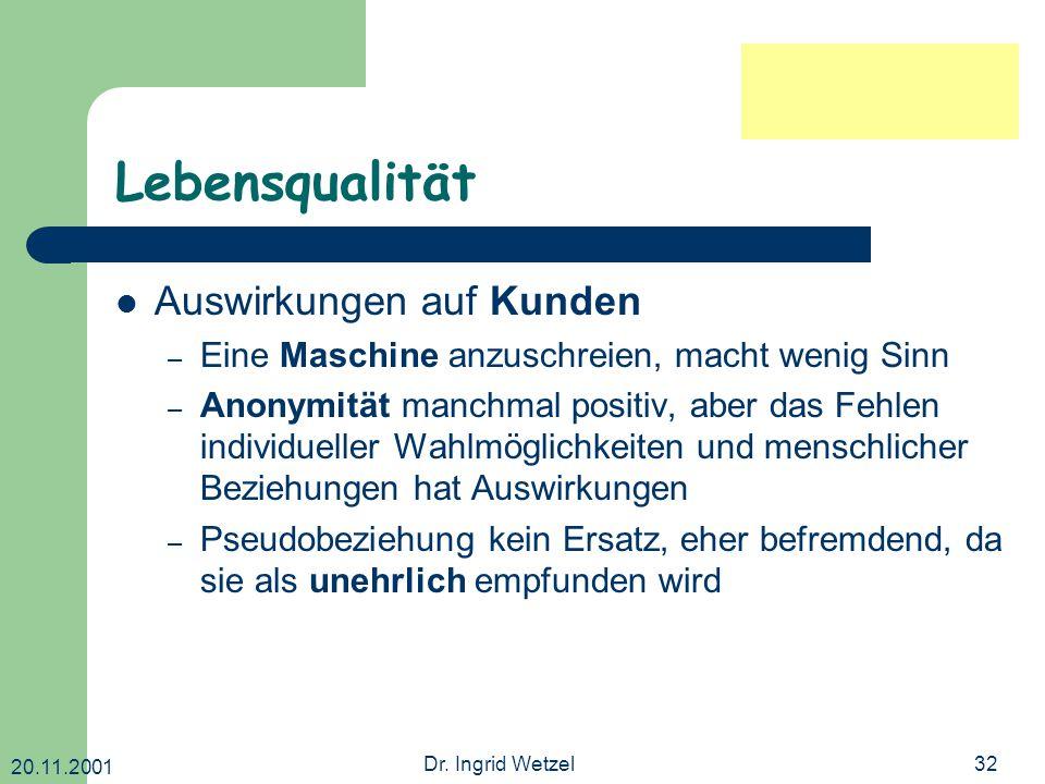 20.11.2001 Dr. Ingrid Wetzel32 Lebensqualität Auswirkungen auf Kunden – Eine Maschine anzuschreien, macht wenig Sinn – Anonymität manchmal positiv, ab