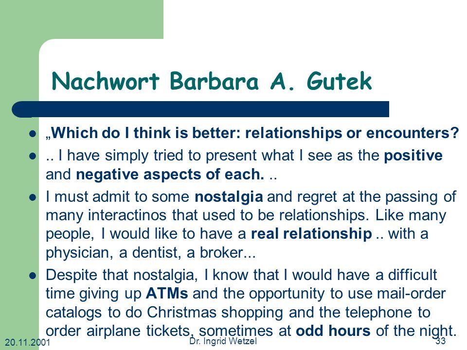 20.11.2001 Dr. Ingrid Wetzel33 Nachwort Barbara A.
