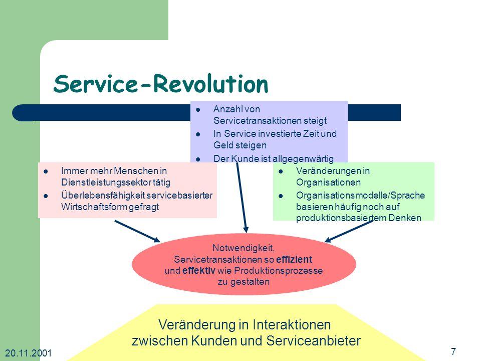 20.11.2001 Dr. Ingrid Wetzel7 Service-Revolution Immer mehr Menschen in Dienstleistungssektor tätig Überlebensfähigkeit servicebasierter Wirtschaftsfo