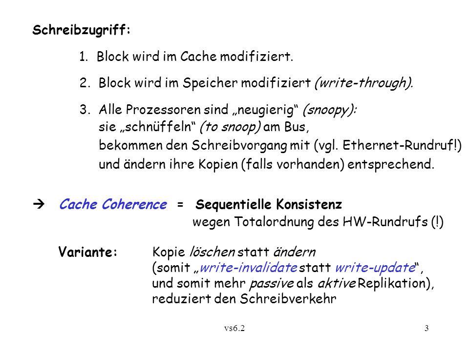 vs6.23 Schreibzugriff: 1. Block wird im Cache modifiziert.
