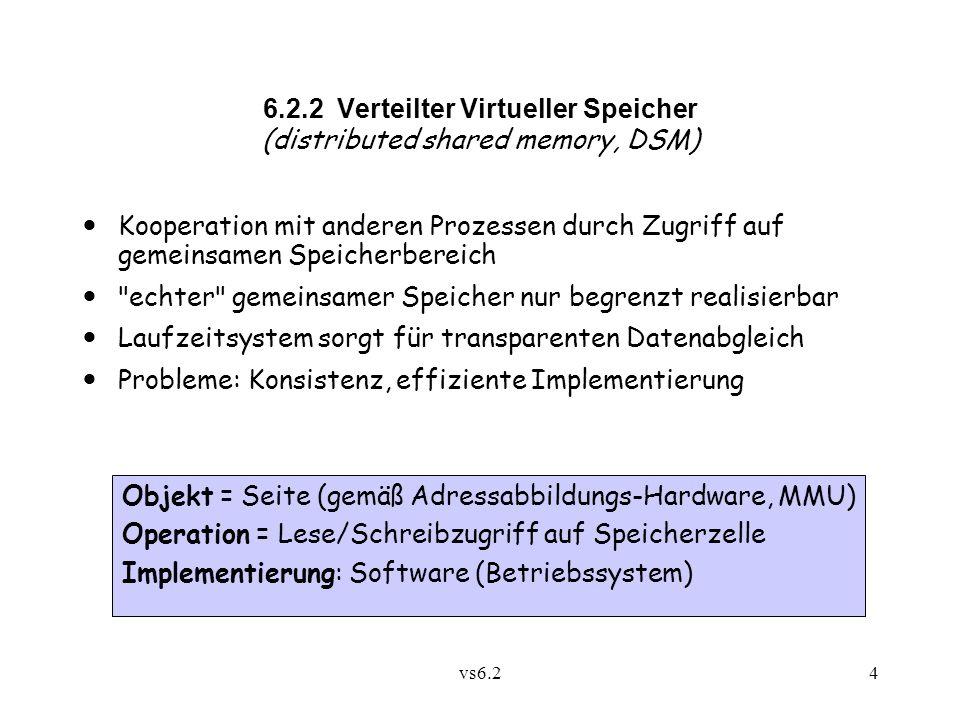 vs6.24 Objekt = Seite (gemäß Adressabbildungs-Hardware, MMU) Operation = Lese/Schreibzugriff auf Speicherzelle Implementierung: Software (Betriebssystem) 6.2.2 Verteilter Virtueller Speicher (distributed shared memory, DSM) Kooperation mit anderen Prozessen durch Zugriff auf gemeinsamen Speicherbereich echter gemeinsamer Speicher nur begrenzt realisierbar Laufzeitsystem sorgt für transparenten Datenabgleich Probleme: Konsistenz, effiziente Implementierung