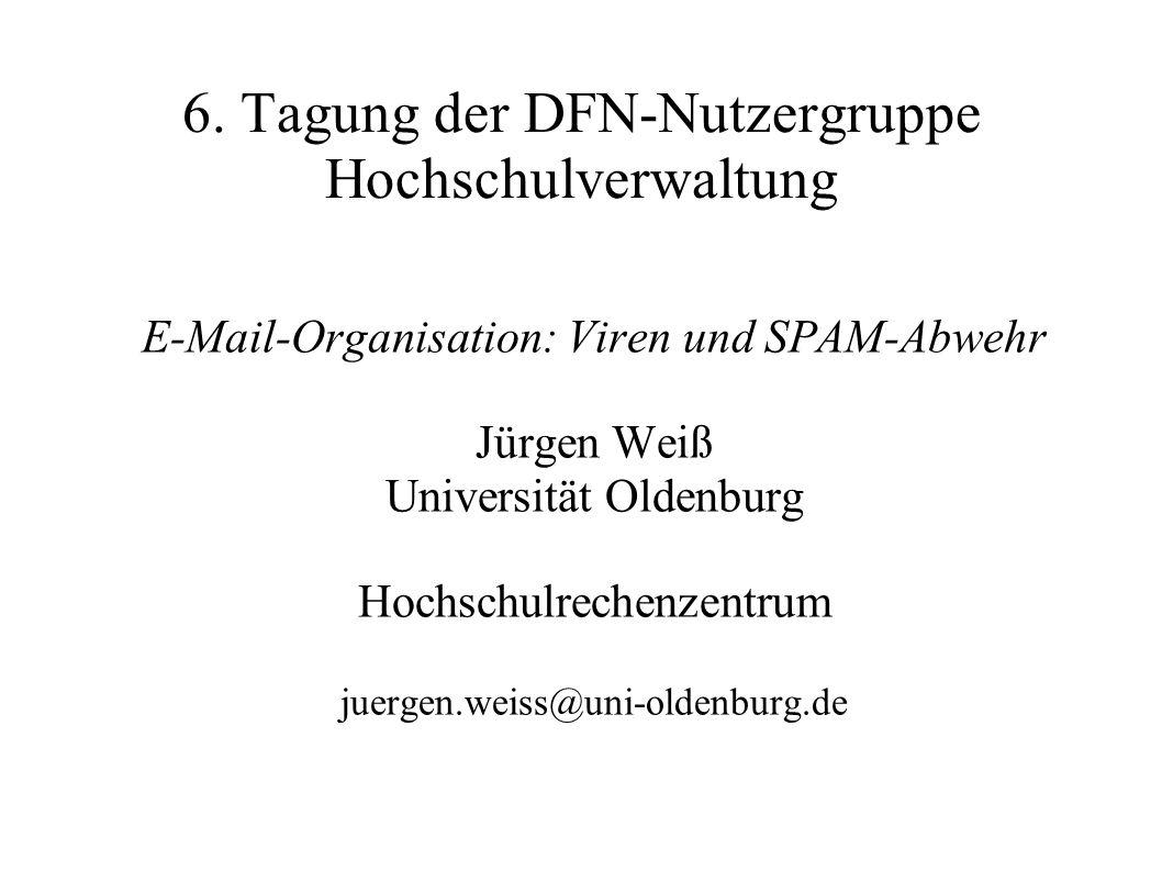 E-Mail-Organisation: Viren und SPAM-Abwehr Jürgen Weiß Universität Oldenburg Hochschulrechenzentrum juergen.weiss@uni-oldenburg.de 6. Tagung der DFN-N