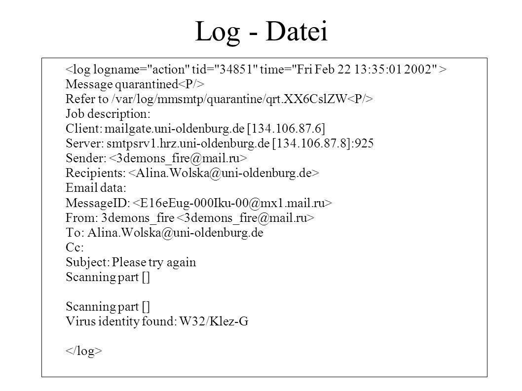 Log - Datei Message quarantined Refer to /var/log/mmsmtp/quarantine/qrt.XX6CslZW Job description: Client: mailgate.uni-oldenburg.de [134.106.87.6] Ser