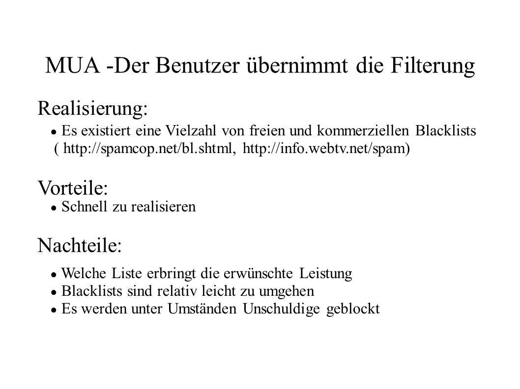 MUA -Der Benutzer übernimmt die Filterung ● Es existiert eine Vielzahl von freien und kommerziellen Blacklists ( http://spamcop.net/bl.shtml, http://i