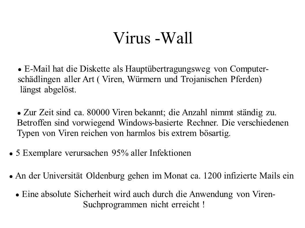 Virus -Wall ● E-Mail hat die Diskette als Hauptübertragungsweg von Computer- schädlingen aller Art ( Viren, Würmern und Trojanischen Pferden) längst a