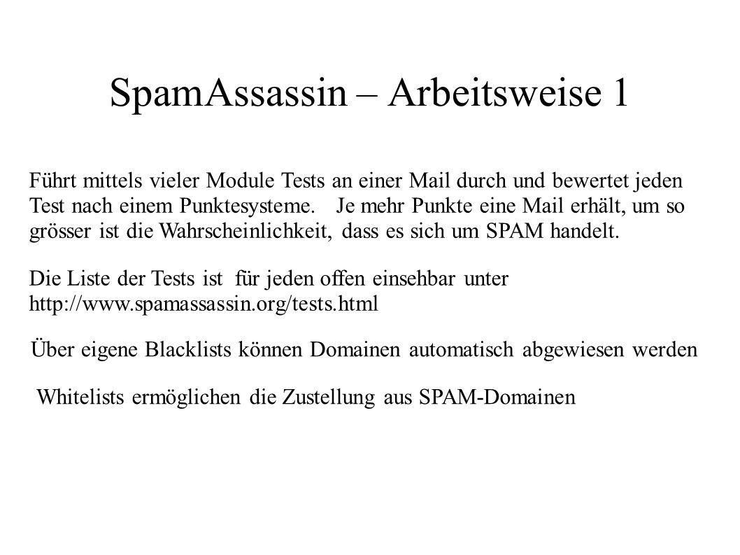 SpamAssassin – Arbeitsweise 1 Führt mittels vieler Module Tests an einer Mail durch und bewertet jeden Test nach einem Punktesysteme. Je mehr Punkte e