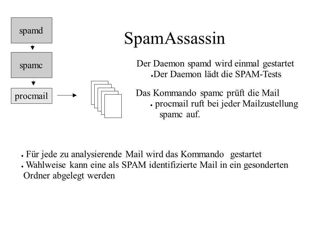 SpamAssassin procmail spamc Der Daemon spamd wird einmal gestartet ● Der Daemon lädt die SPAM-Tests ● Für jede zu analysierende Mail wird das Kommando