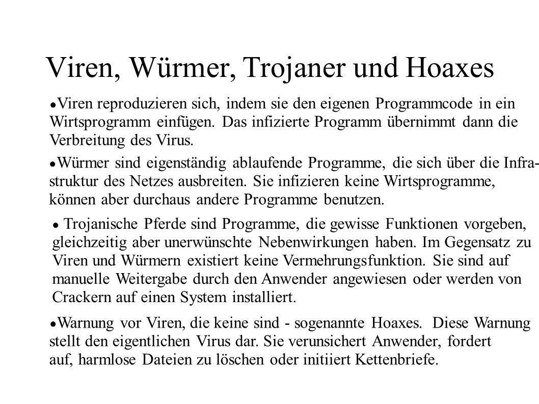 Viren, Würmer, Trojaner und Hoaxes ● Viren reproduzieren sich, indem sie den eigenen Programmcode in ein Wirtsprogramm einfügen. Das infizierte Progra