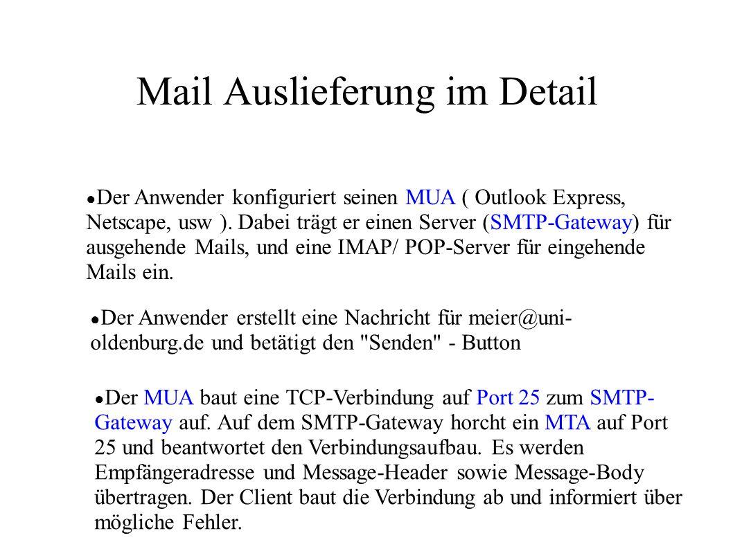 Mail Auslieferung im Detail ● Der Anwender konfiguriert seinen MUA ( Outlook Express, Netscape, usw ). Dabei trägt er einen Server (SMTP-Gateway) für