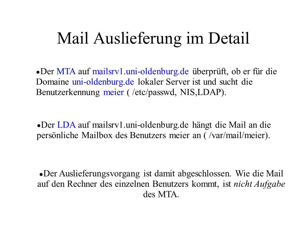 Mail Auslieferung im Detail ● Der MTA auf mailsrv1.uni-oldenburg.de überprüft, ob er für die Domaine uni-oldenburg.de lokaler Server ist und sucht die