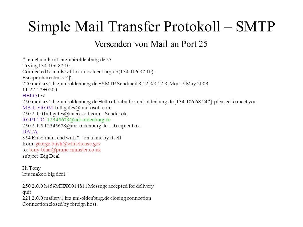 Simple Mail Transfer Protokoll – SMTP # telnet mailsrv1.hrz.uni-oldenburg.de 25 Trying 134.106.87.10... Connected to mailsrv1.hrz.uni-oldenburg.de (13