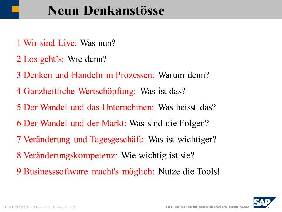  SAP AG 2002, Title of Presentation, Speaker Name / 2 1 Wir sind Live: Was nun? 2 Los geht's: Wie denn? Neun Denkanstösse 3 Denken und Handeln in Pro