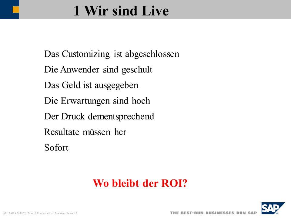  SAP AG 2002, Title of Presentation, Speaker Name / 3 1 Wir sind Live Wo bleibt der ROI? Das Customizing ist abgeschlossen Der Druck dementsprechend
