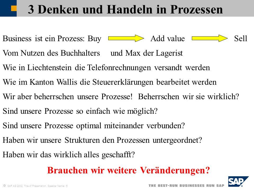  SAP AG 2002, Title of Presentation, Speaker Name / 5 3 Denken und Handeln in Prozessen Vom Nutzen des Buchhaltersund Max der Lagerist Wie in Liechte