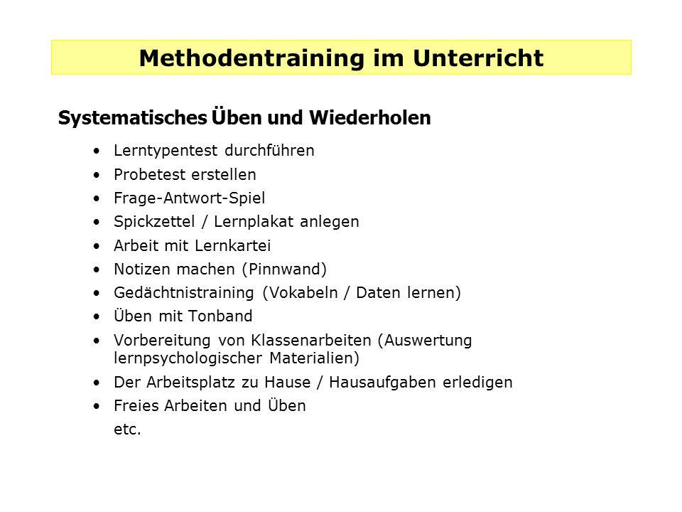 Methodentraining im Unterricht Systematisches Ü ben und Wiederholen Lerntypentest durchführen Probetest erstellen Frage-Antwort-Spiel Spickzettel / Le