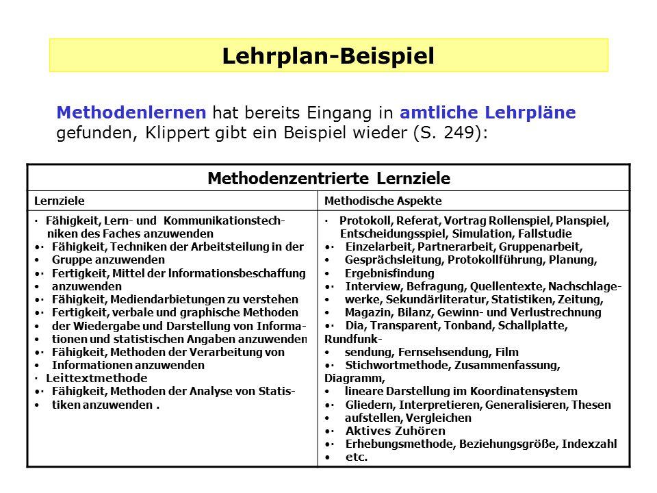 Lehrplan-Beispiel Methodenlernen hat bereits Eingang in amtliche Lehrpläne gefunden, Klippert gibt ein Beispiel wieder (S. 249): Methodenzentrierte Le