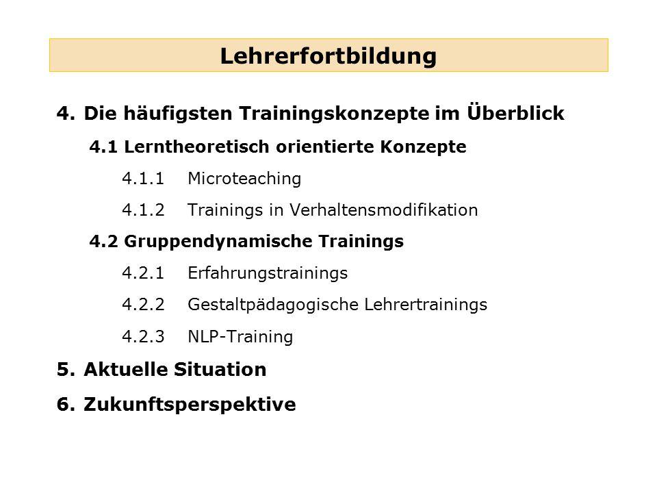 Lehrerfortbildung 4.Die häufigsten Trainingskonzepte im Überblick 4.1 Lerntheoretisch orientierte Konzepte 4.1.1Microteaching 4.1.2Trainings in Verhal