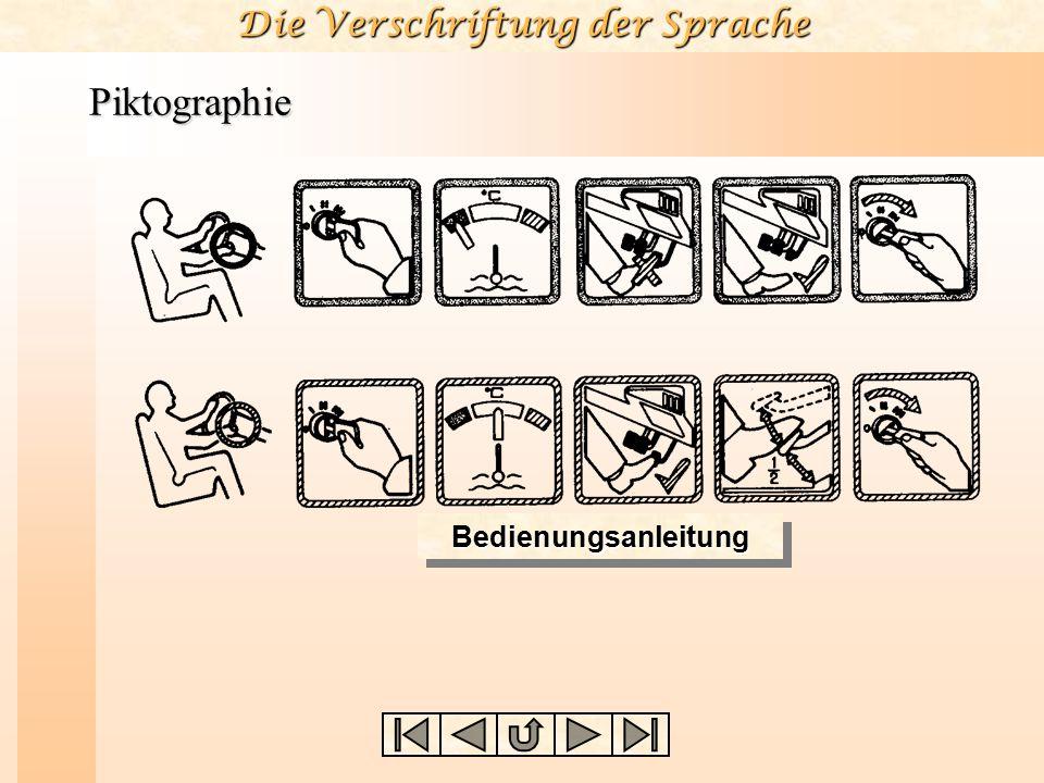 Die Verschriftung der Sprache Piktographie BedienungsanleitungBedienungsanleitung