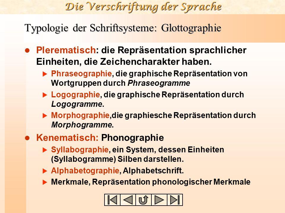 Typologie der Schriftsysteme: Glottographie Plerematisch: die Repräsentation sprachlicher Einheiten, die Zeichencharakter haben.  Phraseographie, die