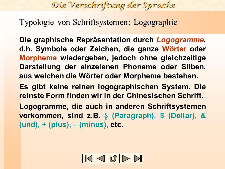 Die Verschriftung der Sprache Typologie von Schriftsystemen: Logographie Die graphische Repräsentation durch Logogramme, d.h. Symbole oder Zeichen, di