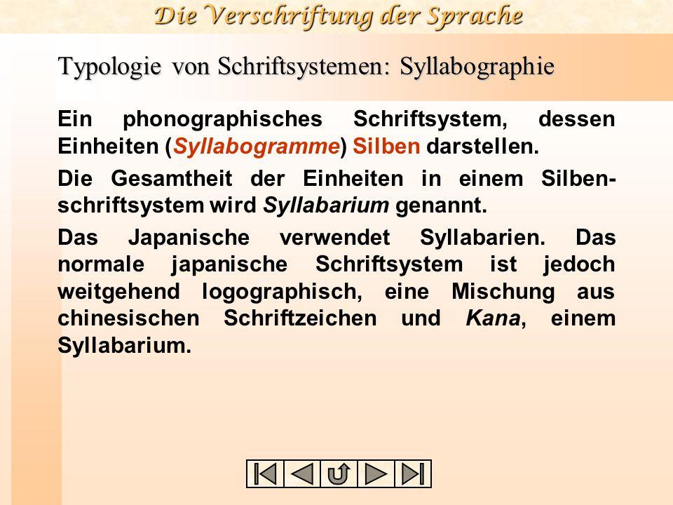 Die Verschriftung der Sprache Typologie von Schriftsystemen: Syllabographie Ein phonographisches Schriftsystem, dessen Einheiten (Syllabogramme) Silbe