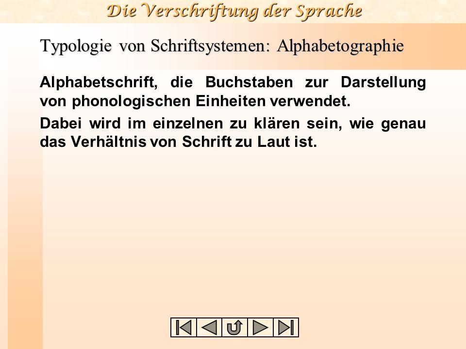 Die Verschriftung der Sprache Typologie von Schriftsystemen: Alphabetographie Alphabetschrift, die Buchstaben zur Darstellung von phonologischen Einhe
