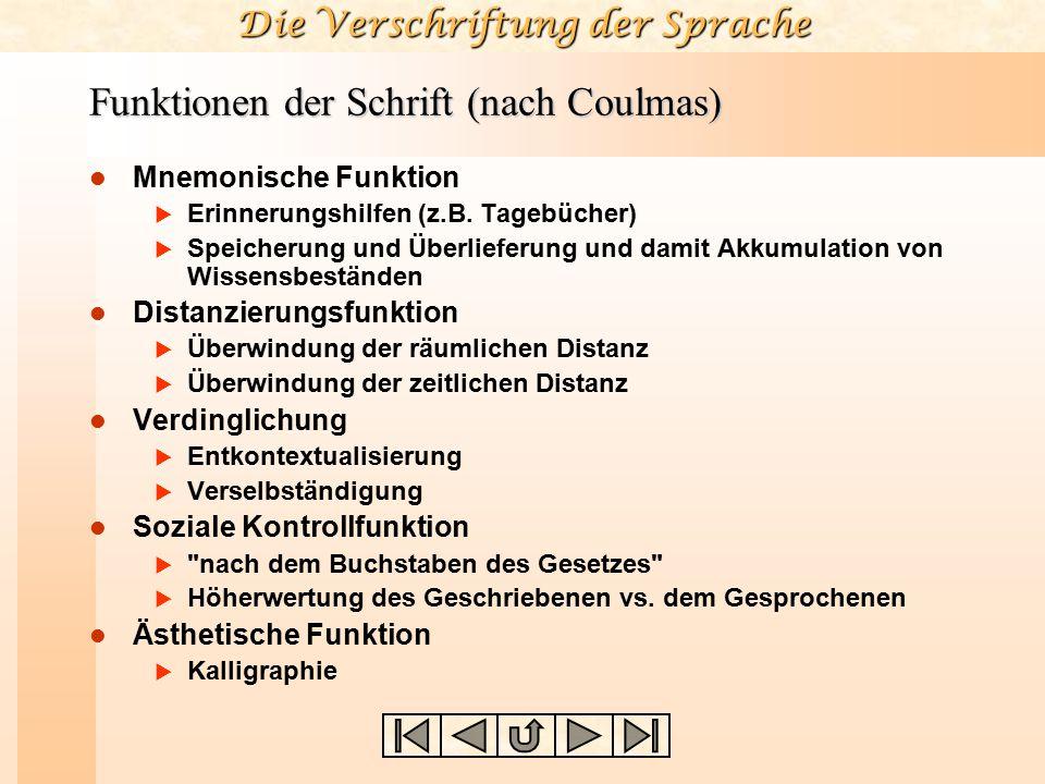 Die Verschriftung der Sprache Funktionen der Schrift (nach Coulmas) Mnemonische Funktion  Erinnerungshilfen (z.B. Tagebücher)  Speicherung und Überl