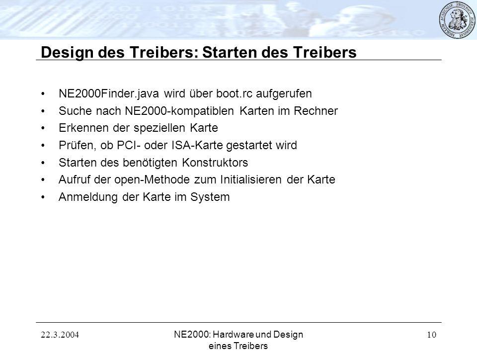 22.3.2004NE2000: Hardware und Design eines Treibers 10 Design des Treibers: Starten des Treibers NE2000Finder.java wird über boot.rc aufgerufen Suche