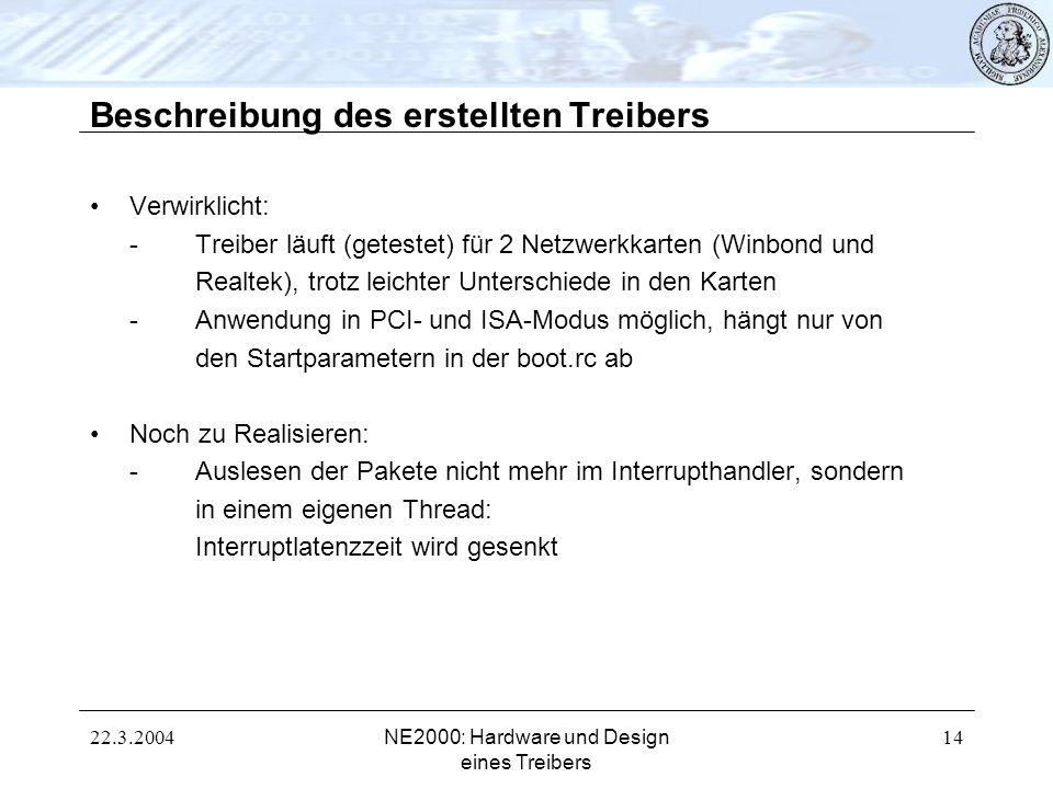 22.3.2004NE2000: Hardware und Design eines Treibers 14 Beschreibung des erstellten Treibers Verwirklicht: -Treiber läuft (getestet) für 2 Netzwerkkart