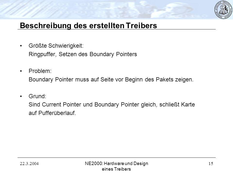 22.3.2004NE2000: Hardware und Design eines Treibers 15 Beschreibung des erstellten Treibers Größte Schwierigkeit: Ringpuffer, Setzen des Boundary Poin
