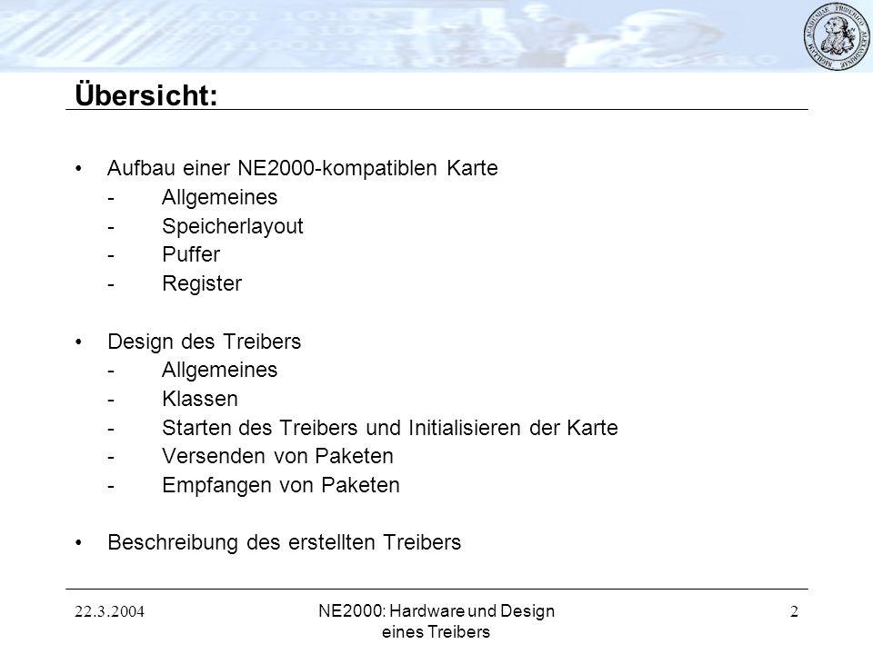 22.3.2004NE2000: Hardware und Design eines Treibers 2 Übersicht: Aufbau einer NE2000-kompatiblen Karte -Allgemeines -Speicherlayout -Puffer -Register
