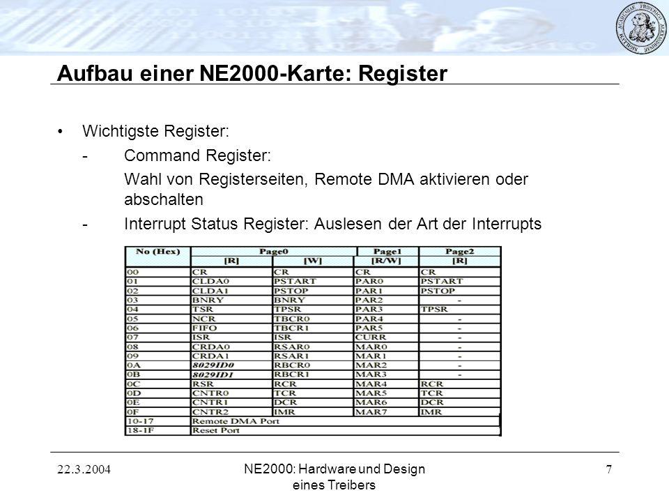 22.3.2004NE2000: Hardware und Design eines Treibers 7 Aufbau einer NE2000-Karte: Register Wichtigste Register: -Command Register: Wahl von Registersei