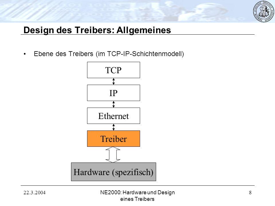 22.3.2004NE2000: Hardware und Design eines Treibers 8 Design des Treibers: Allgemeines Ebene des Treibers (im TCP-IP-Schichtenmodell) TCP IP Ethernet