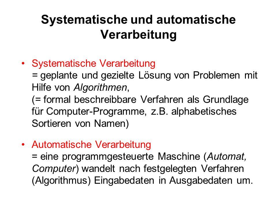 Systematische und automatische Verarbeitung Systematische Verarbeitung = geplante und gezielte Lösung von Problemen mit Hilfe von Algorithmen, (= form