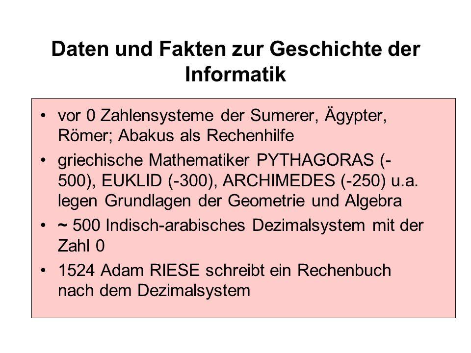 Daten und Fakten zur Geschichte der Informatik vor 0 Zahlensysteme der Sumerer, Ägypter, Römer; Abakus als Rechenhilfe griechische Mathematiker PYTHAG