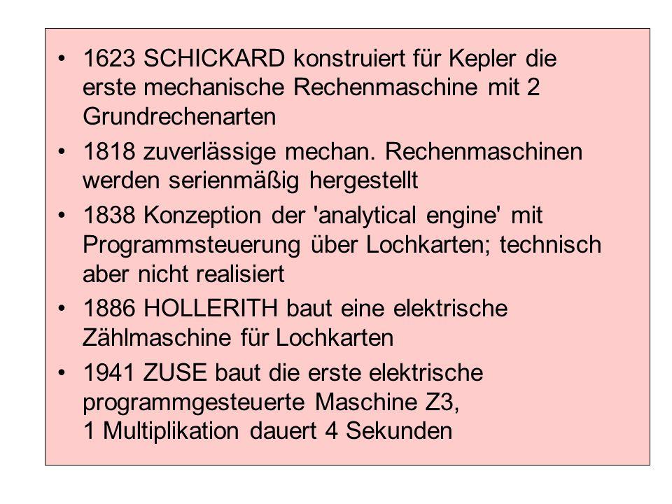 1623 SCHICKARD konstruiert für Kepler die erste mechanische Rechenmaschine mit 2 Grundrechenarten 1818 zuverlässige mechan. Rechenmaschinen werden ser